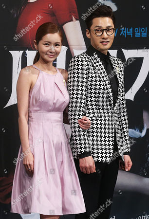 Actress Jang Seo-hee (l) and Hwang Dong-joo Pose at an Event to Promote the New Kbs Drama 'Cuckoo's Nest' in Seoul South Korea 29 May 2014 Korea, Republic of Seoul