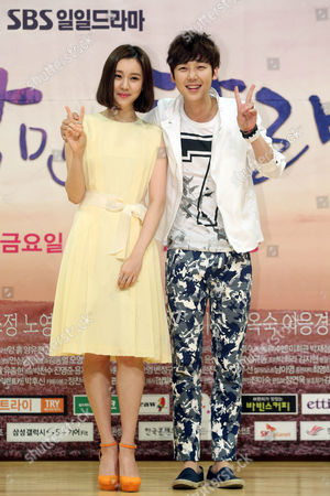 South Korean Actors Kim Ye-won (l) and Yoon Jong-hoon Pose at an Event to Promote the New Sbs Drama 'Only Love' in Seoul South Korea 28 May 2014 Korea, Republic of Seoul