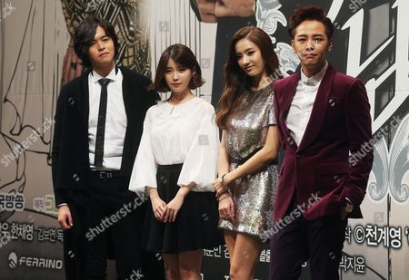 Cast Members (l-r): Lee Jang-woo Iu Han Chae-young and Jang Geun-suk of New Tv Drama 'Pretty Boy' by Korean Broadcasting System (kbs) Pose For Photos at a Media Event in Seoul South Korea 18 November 2013 the 16-part Drama Set to Air From 20 November is About a Ladies' Man on His Quest For Real Love Korea, Republic of Seoul