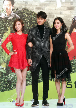 Stock Picture of (l-r) South Korean Actors Joo Ji-yeon Sung Hyuk and Han Chae-ah Pose at an Event in Seoul South Korea 21 November 2014 to Promote the New Kbs Drama 'Only You My Love ' the Story of Several Families Living Together in One House Korea, Republic of Seoul