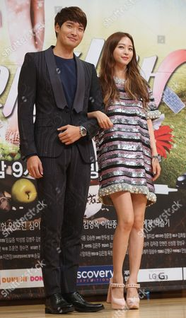 South Korean Actress Han Ye-seul and Actor Jung Gyeo-woon (l) Pose During an Event to Promote New Tv Drama at the Sbs Building in Western Seoul South Korea 30 October 2014 Korea, Republic of Seoul