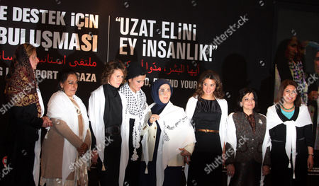 Editorial image of First ladies from Middle Eastern countries call for peace in Gaza at a meeting in Istanbul, Turkey - 10 Jan 2009