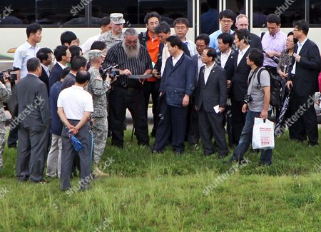 Stock Photo of Steve House Visits the Us Military Facility Camp Carroll in Chilgok 300 Kilometers Southeast of Seoul South Korea on 27 July 2011 where He and Two Other Us Veterans Claimed They Secretly Buried Hundreds of Drums of Agent Orange in 1978 House Came to South Korea to Testify About the Agent Orange Burial the Toxic Defoliant Widely Used During the Vietnam War Can Cause Serious Health Problems Including Cancer Genetic Damage and Birth Defects Korea, Republic of Chilgok