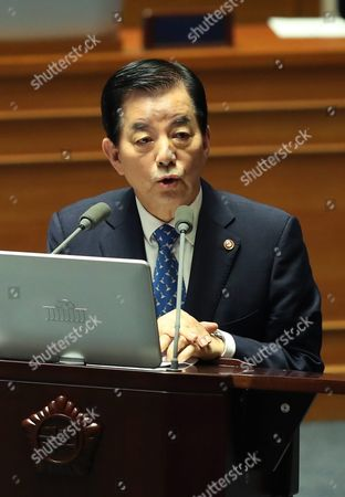 South Korean Defense Minister Han Min-goo Speaks During a Plenary Session of the National Assembly Convened to Discuss the Decision to Deploy the Us' Terminal High Altitude Area Defense (thaad) Missile System in South Korea; in Seoul South Korea 19 July 2016 Korea, Republic of Seoul