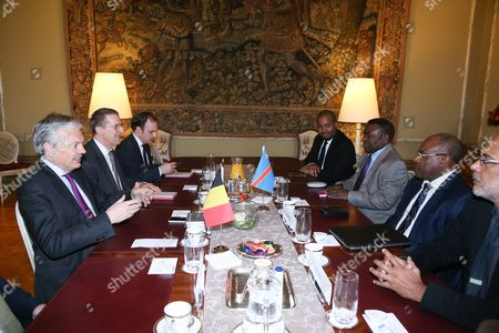 Leonard She Okitundu, Minister for Foreign Affairs of Congo meets with Didier Reynders