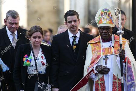 Paul and Alison Rough with Archbishop of York John Sentamu at the funeral of their of 7-year-old daughter Katie Rough at York Minster in North Yorkshire.