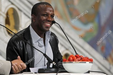 Former Canadian Sprinter Donovan Bailey Smiles During a Press Conference at the City Hall in Oslo Norway 08 June 2011 One Day Before the Bislett Games in Oslo on 09 June 2011 Norway Oslo