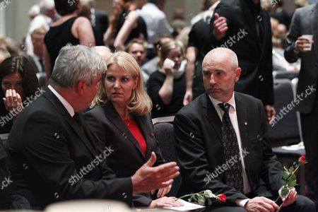 Norwegian Parliamentary Preseident Dag Terje Andersen (r) with Helle Thorning-schmidt of Denmark and Haakan Juholt (l) of Sweden at a Memorial Gathering in Oslo Norway 29 July 2011 Organized by the Norwegian Labour Party and Its Youth Organisation Auf in Honour of the Victims of 22 July's Oslo Bombing and Utoya Island Shooting Anders Behring Breivik Has Been Charged with the 22 July Bombing in Oslo That Killed Eight People and the Subsequent Attack on Nearby Utoya Island That Killed 68 Mostly Young People at a Summer Holiday Camp He was Remanded in Custody on 25 July and is to Undergo a Psychiatric Evaluation Norway Oslo