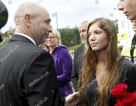 An Image Dated 26 July 2011 and Made Available 27 July 2011 Showing Helene Boersei Olsen (r) who Survived the Massacre at Utoeya Island 22 July But Lost Her Mother Meeting the President of the Norwegian Parliament Dag Terje Andersen (l) at Hole Near the Utoeya Island 26 July 2011 a Rental Car Used by the Norwegian Man Charged with Last Weeks Attacks That Claimed 76 Lives in Norway Were an Important Early Lead For Police Daily Aftenposten Said Anders Behring Breivik was Remanded in Custody Monday For Eight Weeks and is to Undergo a Psychiatric Evaluation He is Charged with Setting Off a Car Bomb in Central Oslo That Killed Eight People and Shooting 68 People Dead at a Labour Party Youth Camp on Utoya Island Norway Oslo