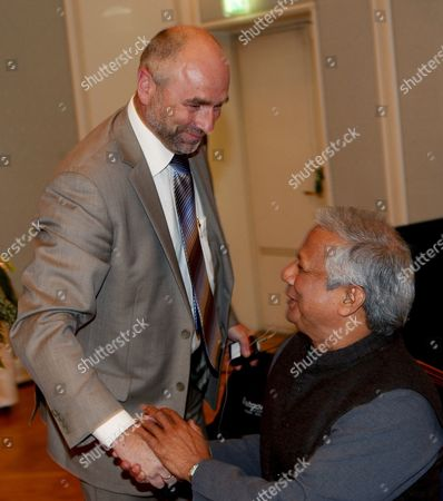Professeor Muhammad Yunus Nobel Peace Prize Laureate of Grameenphone in Bangladesh (r) is Greeted by Norwegian Minister of Labour and Social Inclusion Mr Dag Terje Andersen During the 'Decent Work' Conference in Oslo Norway 05 September 2008 Norway Oslo