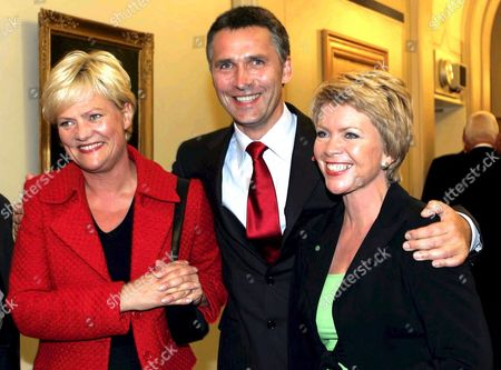 Norwegian Labour Party Leader Jens Stoltenberg (c) Poses For Photographers with Kristin Halvorsen (l) Leader of the Socialist Left Party and and Aslaug Haga (r) Leader of the Centre Party in the House of Parliament in Oslo Monday 12 September 2005 Following the Norwegian Parliamentary Elections Preliminary Results Are Pointing in the Direction of a New Government Formed From a Socialist Coalition of These Three Parties Norway Oslo