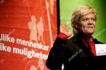 Norwegian Minister of Finance and Chairman of the Socialist Party Kristin Halvorsen Speaks After the First and Preliminary Results of the Norwegian Local and Municipal Elections 10 September 2007 Became Known the First Results Indicate a Drop in Support For the Socialist Party Norway Oslo