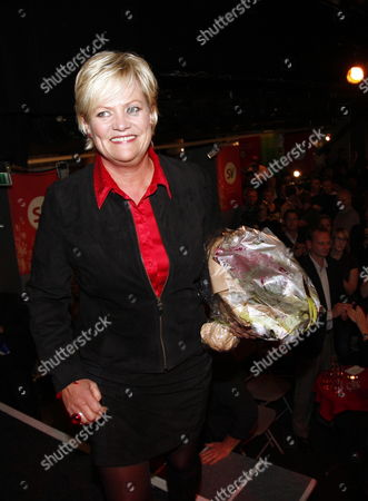 Stock Image of Minister of Finance and Social Left Party Leader Kristin Halvorsen Arrives at Her Party's Election Eve in Downtown Oslo During the Norwegian General Elections on 14 September 2009 Norway Oslo