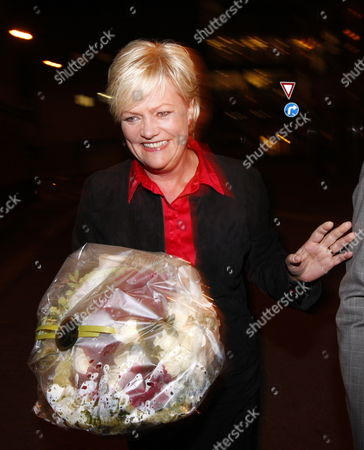 Stock Photo of Minister of Finance and Social Left Party Leader Kristin Halvorsen Arrives at Her Party's Election Eve in Downtown Oslo During the Norwegian General Elections on 14 September 2009 Norway Oslo