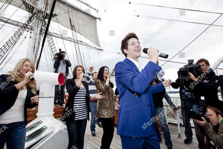 British Singer Josh Dubovie (front) Performs on Deck of Sail Training Ship 'Christian Radich' During a Boat Trip on the Oslofjord Norway 25 May 2010 Dubovie Will Represent the Uk at the 2010 Eurovision Song Contest in Oslo the Contest's First Semi-final Takes Place on 25 May Norway Oslofjorden