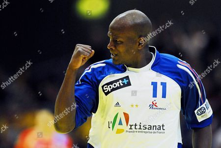 France's Olivier Girault Celebrates a Goal During the Main Round Group 2 Match Against Spain at the European Handball Championship in Trondheim Norway 22 January 2008 Norway Trondheim