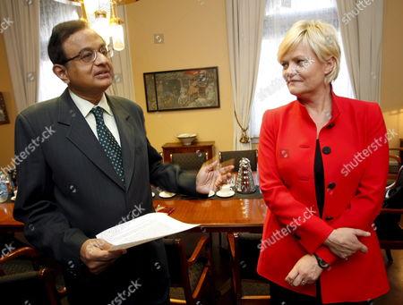 Norwegian Minister of Finance Kristin Halvorsen (r) and Her Indian Counterpart P Chidambaram Meet in Oslo 23 October 2007 Norway Oslo