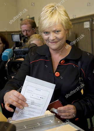 Norwegian Finance Minister Kristin Halvorsen Votes in the Country's Local and Municipal Elections in Oslo Norway 10 September 2007 Norway Oslo