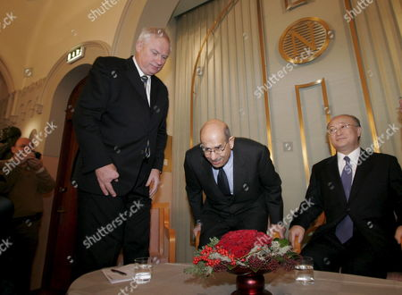 The 2005 Nobel Peace Prize Laurates the International Atomic Energy Agency (iaea) Represented by Ambassador Yukiya Amano (r) Chairman of the Board of Governors of the Iaea and Director General Mohamed Elbaradei (c) and the Director of the Nobel Institute and Secretary of the Norwegian Nobel Peace Prize Committee Geir Lundestad Arrive at a Press Conference at the Norwegian Nobel Institute in Oslo Friday 09 December 2005 Norway Oslo