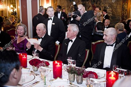 Kaci Kullmann Five (l) of the Nobel Peace Prize Committee Norwegian King Harald (2nd L) Nobel Committee Chairman Thorbjorn Jagland (2nd R) and Dag Terje Andersen (r) Head of the Norwegian Parliament Attend the Norwegian Nobel Prize Committee's Traditional Banquet at the Grand Hotel in Oslo Norway 10 December 2010 at Right Norwegian Prime Minister Jens Stoltenberg Norway Oslo