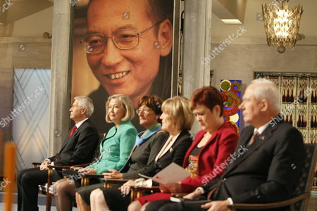 (l-r) the Norwegian Obel Committee Chairman Thorbjoern Jagland Kaci K Five Sissel Roenbeck Inger-marie Ytterhorn Aagot Valle and Committee Secretary Geir Lundestad Attend the Nobel Peace Prize Ceremony in Oslo City Hall Oslo Norway 10 December 2010 the 2010 Nobel Peace Prize Laureate Liu Xiaobo a Dissident Serving an 11-year Jail Term in Jail in North-east China For Political Offences was Denied the Permission to Attend the Ceremony Norway Oslo