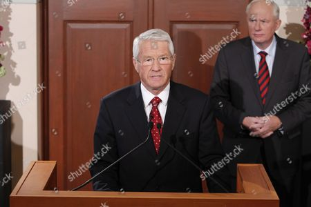 The Chairman of the Norwegian Nobel Committee Mr Thorbjoern Jagland Announced Friday October 8 2010 That Jailed Chinese Dissident Liu Xiaobo is the Recipient of the Nobel Peace Prize For 2010 the Announcement was Made at the Nobel Institute in Oslo at Right Mr Geir Lundestad Director of the Nobel Institute in Oslo Norway Oslo