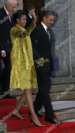 This Year's Nobel Peace Prize Laureate Barack Obama and His Wife Michelle Leave After the Nobel Ceremony at the Oslo City Hall Norway 10 December 2009 They Are Followed by the Director of the Norwegian Nobel Institute Geir Lundestad (l) Norway Oslo