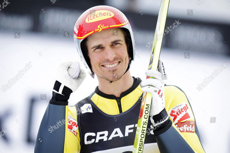 Felix Gottwald of Austria Reacts During the Ski Jumping Leg of the Nordic Combined Team Competition at the Fis Nordic Skiing World Championships in the Holmenkollen Ski Arena Near Oslo Norway 28 February 2011 Team Austria Placed Fourth After the Ski Jumping Round Norway Oslo