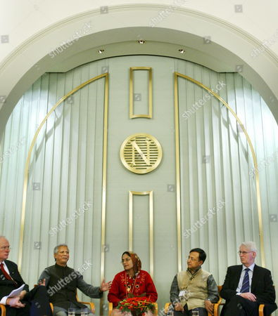 From Left: Director of the Norwegian Nobel Institute Geir Lundestad Peace Prize Winner Muhammad Yunus Colaurate Mosammat Taslima Begum of Grameen Bank Beugum's Interpreter and Leader of the Norwegian Peace Price Committee Ole Danbolt Mjoes Met the Norwegian and International Press in the Norwegian Nobel Institute in Oslo Saturday 09 December 2006 the Nobel Peace Prize Awarding Ceremony Will Take Place in Oslo Town Hall Sunday December 10 on the Death Day of the Founder of the Nobel Prizes Swedish Dynamite Inventor Alfred Nobel Norway Oslo