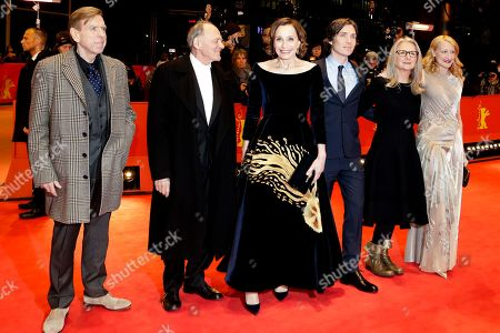 From left, actors Timothy Spall, Bruno Ganz, Kristin Scott Thomas, Cillian Murphy, director Sally Potter and actress Patricia Clarkson arrive on the red carpet for the film 'The Party' at the 2017 Berlinale Film Festival in Berlin, Germany