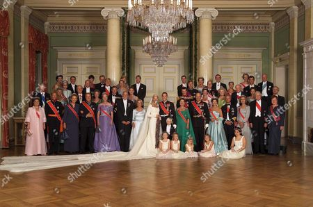 Oslo Norway : Oslo 20010825:the Official Picture of the Newlyweds and Their Families in the Royal Castle in Oslo Saturday Evening August 25th 2001 Back Row From Left: Kristin Hoiby Bjornoy Per Bjornoy Per Hoiby Wenche L Hoiby Espen Hoiby Hege S Hoiby Duke Guillaume of Luxembourg Queen Anne Marie King Konstantin Princess Benedicte of Denmark and Sayn-wittgestein and Prince Richard of Sayn-wittgestein-berleburg Second Row From Back: Grand Duke Jean of Luxembourg Grand Duchess Josephine-charlotte of Luxembourg Dutch Prince Willem-alexander Maxima Zorreguieta Belgian Prince Philippe Prince Albert of Monaco Crown Princess Victoria of Sweden and Crown Prince Felipe of Spain Second Row From Front: Johan Martin Ferner Princess Astrid Mrs Ferner Erling Lorentzen Princess Ragnhild Mrs Lorentzen Prince Charles Linda Tanevik Crown Prince Fredrik of Denmark Princess Mrtha Louise of Norway Prince Carl Bernadotte Princess Kristine Bernadotte Dorrit Moussaieff Iceland and Pentti Arajrvi Finland Front Row Still From the Left: Grand Duchess Marie Teresa of Luxembourg Grand Duke Henri of Luxembourg King Albert Ii of Belgium Queen Margrethe Ii of Denmark Sven O Hoiby Marit Tjessem Crown Princess Mette-marit of Norway Crown Prince Haakon of Norway Queen Sonja of Norway King Harald V of Norway Queen Silvia of Sweden King Carl Gustaf Xvi of Sweden Queen Sofia of Spain Icelandic President Olafur Ragnar Grimsson and Finlands President Tarja Halonen in Front the Unidentified Bridesmaids and Brideman Marius Crown Princess Mette-marits Son by a Previous Relationship