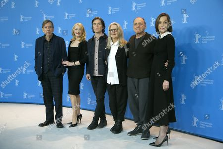 (L-R) British actor Timothy Spall, US actress Patricia Clarkson, Irish actor Cillian Murphy, British director Sally Potter, Swiss actor Bruno Ganz and British actress Kristin Scott Thomas   pose during the photocall for 'The Party' during the 67th annual Berlin Film Festival, in Berlin, Germany, 13 February 2017. The movie is presented in the Official Competition at the Berlinale that runs from 09 to 19 February.