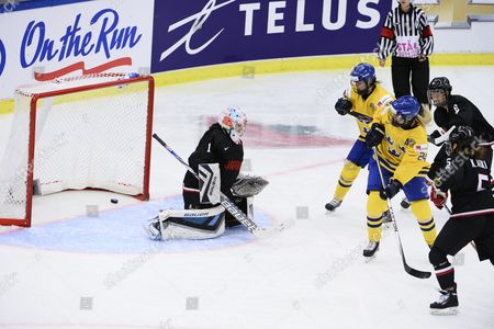 Sweden's Sabina Kuller (24) Scores the Opening Goal Behind Japan's Goal Keeper Nana Fujimoto (1) As Sweden's Anna Borgqvist (18) Japan's Kanae Aoki (5) and Sena Suzuki (6) Look on During the 2015 Iihf Ice Hockey Women's World Championship Group B Match Between Sweden and Japan at Malmo Isstadion in Malmo Southern Sweden on March 28 2015 Photo: Claudio Bresciani / Tt / Code 10090 Sweden Malmo