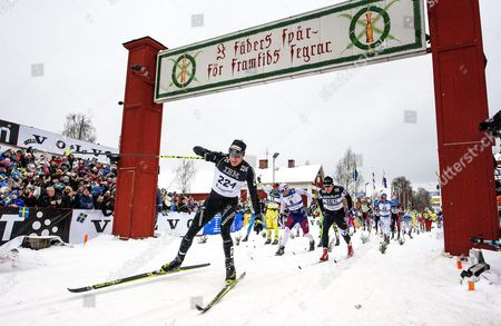 Dario Cologna (front) of Switzerland Crosses the Finish Line of the Vasaloppet Cross Country Skiing Race in Mora Sweden 06 March 2016 the Vasaloppet Race is Held on a 90km Course Between Salen and Mora in Sweden Sweden Mora