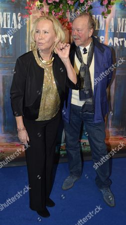 Stock Picture of Former Abba Member Agnetha Faltskog (l) and Thomas Johansson Arrive For the Premiere of 'Mamma Mia! the Party' at the Restaurant Tyrol in Stockholm Sweden 20 January 2016 the New Entertainment Venue in the Grona Lund Amusement Park is Based on the Greek Tavern in the World-famous Mamma Mia Musical and Movie and Offers Visitors a Mediterranean Menu and Abba Dinner Entertainment Sweden Stockholm