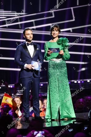 Co-hosts Petra Mede (r) and Mans Zelmerlow (l) the Eurovision 2015 Winner on Stage During Rehearsals For the Grand Final of the 61st Annual Eurovision Song Contest (esc) at the Ericsson Globe Arena in Stockholm Sweden 13 May 2016 the Grand Final Takes Place on 14 May Sweden Stockholm