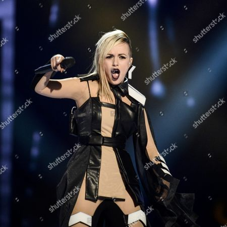 Stock Photo of Poli Genova Representing Bulgaria Performs with the Song 'If Love was a Crime' During the Grand Final of the 61st Annual Eurovision Song Contest (esc) at the Ericsson Globe Arena in Stockholm Sweden 14 May 2016 There Are 26 Finalists From As Many Countries Competing in the Grand Final Sweden Stockholm