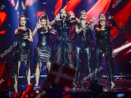 Serbia's Sanja Vucic (c) of the Band Zaa Performs the Song 'Goodbye' During the Second Semi-final of the 61st Annual Eurovision Song Contest (esc) at the Ericsson Globe Arena in Stockholm Sweden 12 May 2016 the Event's Grand Final Takes Place on 14 May Sweden Stockholm