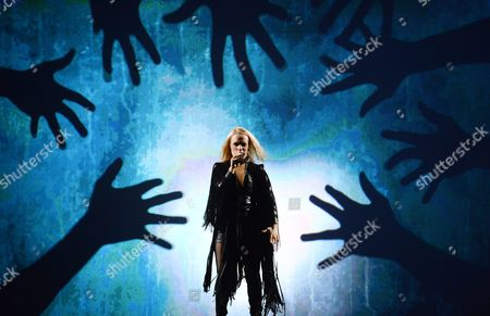 Iceland's Greta Salome Performs the Song 'Hear Them Calling' During Rehearsals For the First Semi-final of the 61st Annual Eurovision Song Contest (esc) at the Ericsson Globe Arena in Stockholm Sweden 09 May 2016 the Event's Grand Final Takes Place on 14 May Sweden Stockholm