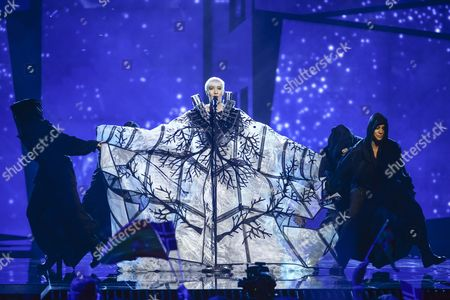 Croatia's Nina Kraljic (c) Performs with the Song 'Lighthouse' During the First Semi-final of the 61st Annual Eurovision Song Contest (esc) at the Ericsson Globe in Stockholm Sweden 10 May 2016 the Second Semi-final Takes Place on 12 May and the Grand Final is Held on 14 May Sweden Stockholm
