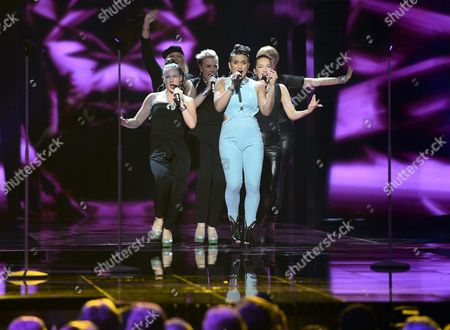Finlands Sandhja (front) Performs the Song 'Sing It Away' During Rehearsals For the First Semi-final of the 61st Annual Eurovision Song Contest (esc) at the Ericsson Globe Arena in Stockholm Sweden 09 May 2016 the Event's Grand Final Takes Place on 14 May Sweden Stockholm