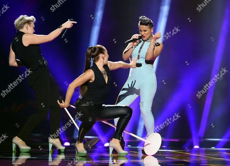 Finlands Sandhja (r) Performs the Song 'Sing It Away' During Rehearsals For the First Semi-final of the 61st Annual Eurovision Song Contest (esc) at the Ericsson Globe Arena in Stockholm Sweden 09 May 2016 the Event's Grand Final Takes Place on 14 May Sweden Stockholm