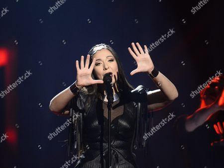 Sanja Vucic of Zaa Representing Serbia Performs During Rehearsals For the Grand Final of the 61st Annual Eurovision Song Contest (esc) at the Ericsson Globe Arena in Stockholm Sweden 13 May 2016 the Grand Final Takes Place on 14 May Sweden Stockholm
