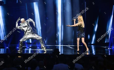 Moldova's Lidia Isac (r) Performs the Song 'Fallling Stars' During Rehearsals For the First Semi-final of the 61st Annual Eurovision Song Contest (esc) at the Ericsson Globe Arena in Stockholm Sweden 09 May 2016 the Event's Grand Final Takes Place on 14 May Sweden Stockholm