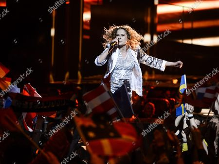 Stock Picture of Laura Tesoro Representing Belgium Performs with the Song 'What's the Pressure' During the Grand Final of the 61st Annual Eurovision Song Contest (esc) at the Ericsson Globe Arena in Stockholm Sweden 14 May 2016 There Are 26 Finalists From As Many Countries Competing in the Grand Final Sweden Stockholm