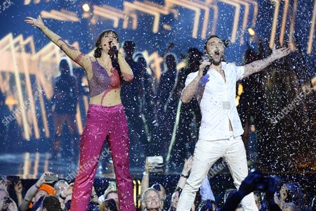Eurovision Hosts and Mans Zelmerlow and Petra Mede Perform During the Second Dress Rehearsal For the Eurovision Song Contest Final in Stockholm Sweden 13 May 2016 the Grand Final Takes Place on 14 May Sweden Stockholm