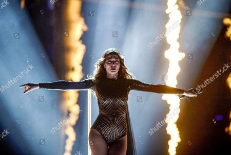 Iveta Mukuchyan Representing Armenia Performs with the Song 'Love Wave' During the Grand Final of the 61st Annual Eurovision Song Contest (esc) at the Ericsson Globe Arena in Stockholm Sweden 14 May 2016 There Are 26 Finalists From As Many Countries Competing in the Grand Final Sweden Stockholm