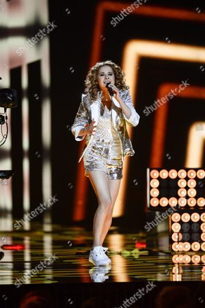 Laura Tesoro Representing Belgium Performs During Rehearsals For the Grand Final of the 61st Annual Eurovision Song Contest (esc) at the Ericsson Globe Arena in Stockholm Sweden 13 May 2016 the Grand Final Takes Place on 14 May Sweden Stockholm