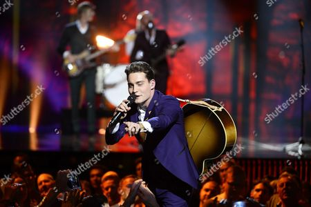 Douwe Bob Representing the Netherlands Performs During Rehearsals For the Grand Final of the 61st Annual Eurovision Song Contest (esc) at the Ericsson Globe Arena in Stockholm Sweden 13 May 2016 the Grand Final Takes Place on 14 May Sweden Stockholm