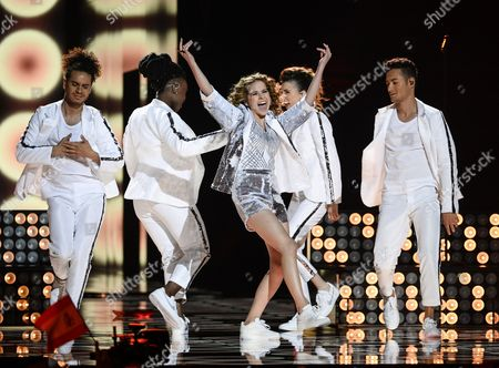Laura Tesoro (c) Representing Belgium Performs During Rehearsals For the Grand Final of the 61st Annual Eurovision Song Contest (esc) at the Ericsson Globe Arena in Stockholm Sweden 13 May 2016 the Grand Final Takes Place on 14 May Sweden Stockholm